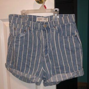 Ardene ultra high rise striped shorts